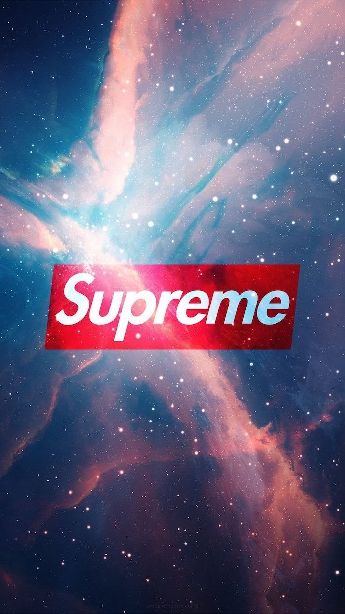 galaxy sky in the background trendy backgrounds supreme red and white logo in the middle