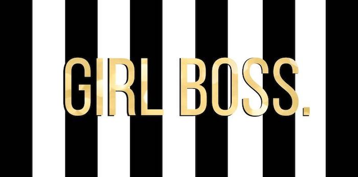 girl boss written with gold letters cool wallpapers for girls black and white striped background