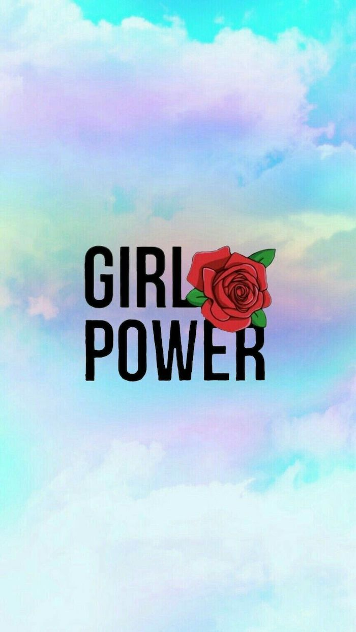 girl power written with black letters on background of sky in purple and blue iphone wallpapers for girls red rose