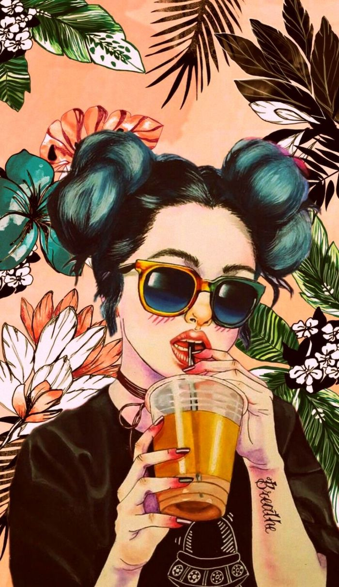 girl with black and blue hair in two buns drinking juice with a straw iphone wallpapers for girls floral background behind her