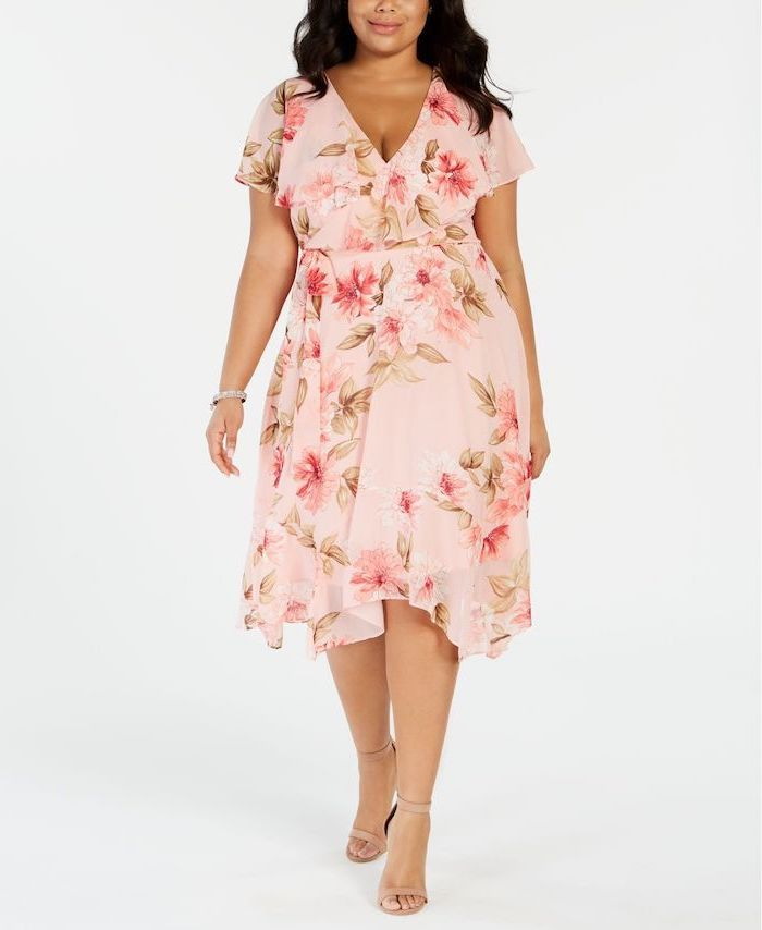 girl with black hair wedding guest dresses wearing pink midi dress with pink flowers nude sandals photographed on white background