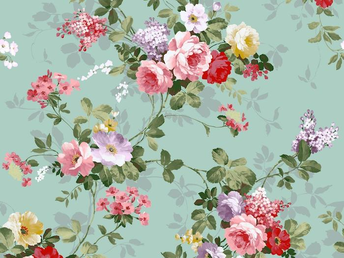 green background pretty flower backgrounds vintage wallpaper with drawing of pink purple red yellow flowers with green leaves