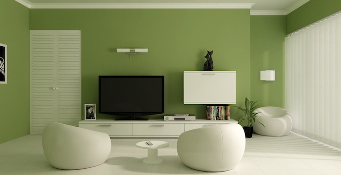 green walls white floor living room paint colors white armchairs tv cabinets white blinds on tall windows