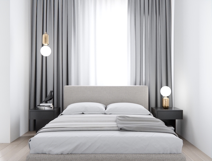 grey curtains blacl night stands how to decorate a bedroom bed with grey bed frame white bed sheets white walls wooden floor