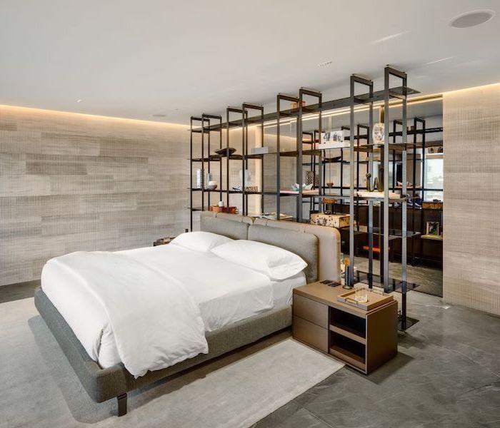 grey granite floor wooden walls with led lights cute room ideas metal bookshelf room separators bed in the middle