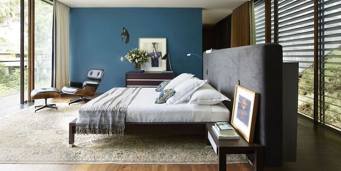 grey velvet bed frame white bed sheets pinterest bedroom ideas blue accent wall wooden floor with colorful carpet