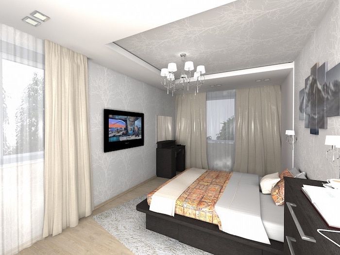 grey wallpapers on the walls and ceiling cute bedroom ideas bed frame night stand made of dark wood wooden floor with white carpet
