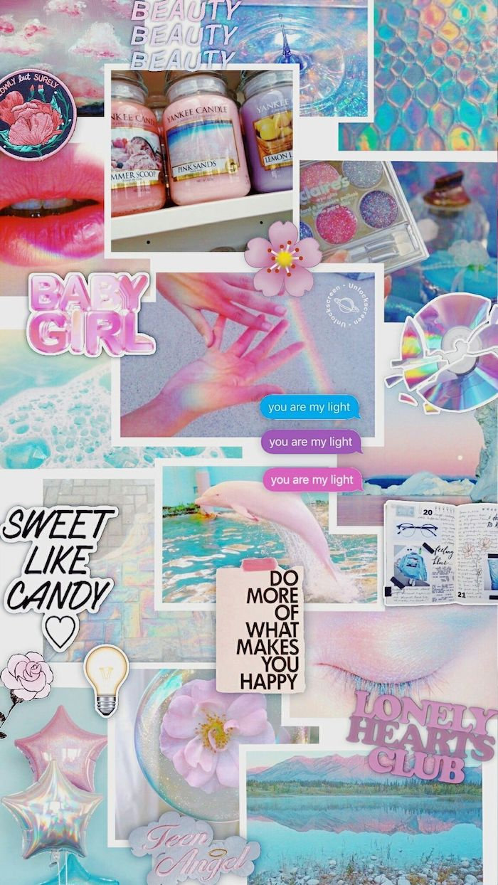 iphone wallpapers for girls photo collage of different photos in pink and blue aesthetic sweet like candy you are my light written on them