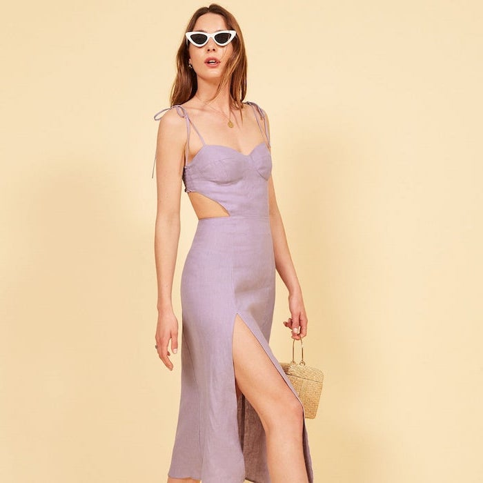 light purple dress mid length spring dresses for women worn by brunette woman with sunglasses