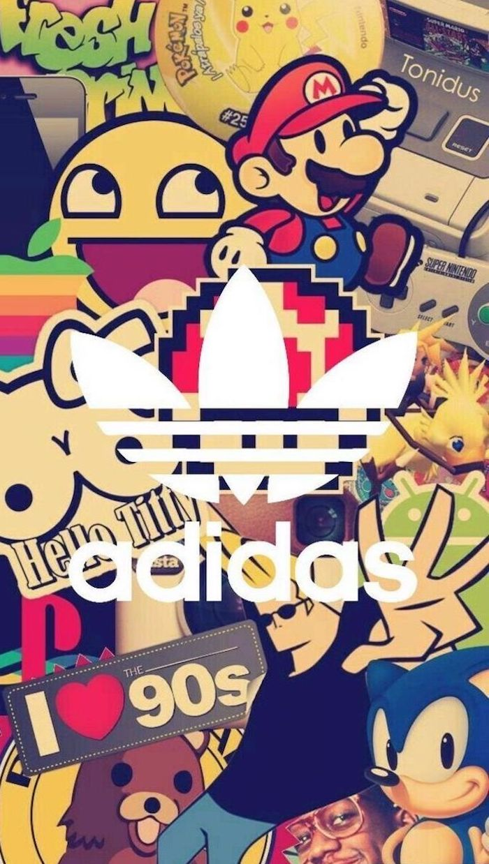 logos from the 90s backgrounds for boys adidas logo in the middle sonic super mario playstation nintendo i love the 90s