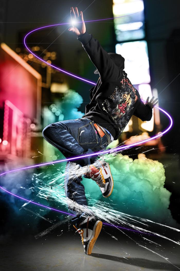 man wearing jeans black hoodie break dancing super cool wallpapers colorful digital drawings smoke arounfd him