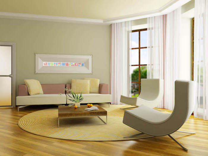 minimalist design light pastel green walls room paint colors wooden floor white sofa and armchairs tall windows with white curtains