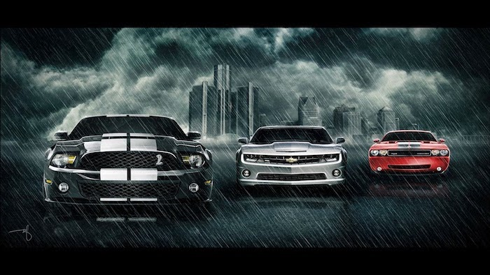 mustang shelby chevrolet camaro dodge challenger digital drawing cool phone wallpapers parked in the rain