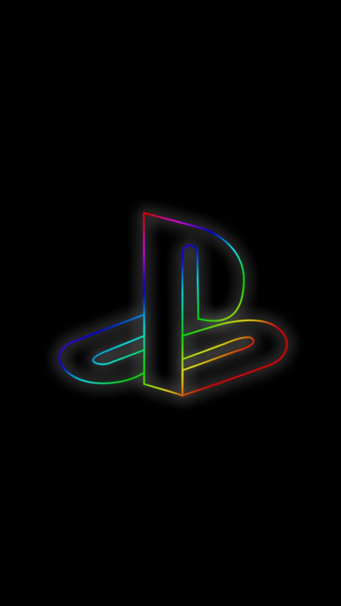 neon playstation logo in the middle of black background trendy backgrounds