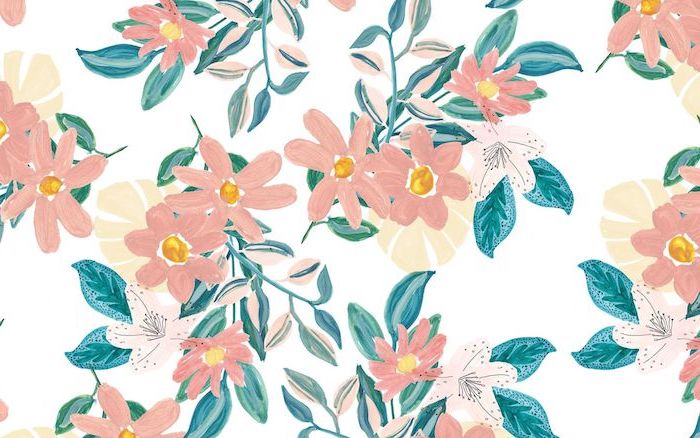 orange pink flowers with green leaves pretty flower backgrounds watercolor drawing on white background