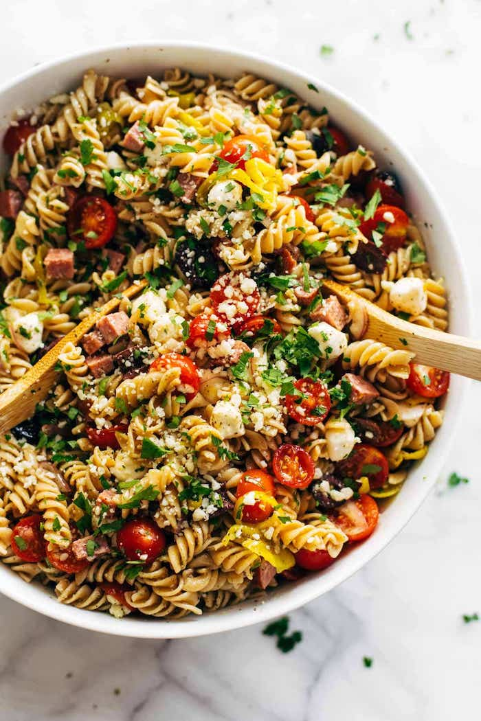 pasta salad with olives haved cherry tomatoes dinner salad recipes crumbled feta cheese