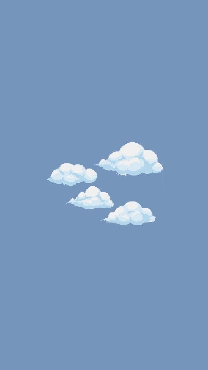 pastel blue background pretty iphone wallpaper pixelated drawings of four white clouds in the middle