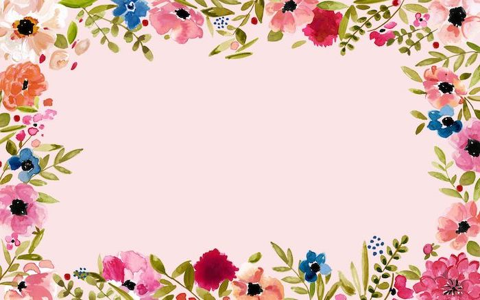 pink background with watercolor drawings od pink blue orange flowers flower background images green leaves