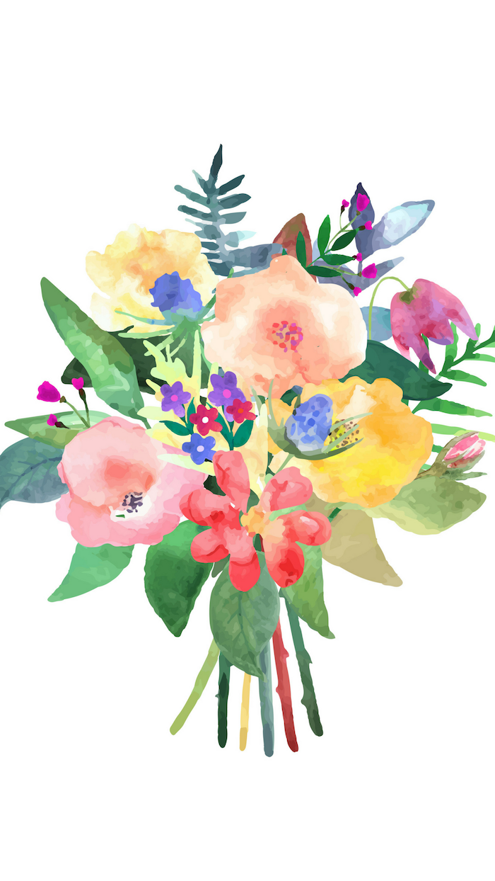 pink flower background watercolor drawing of boquet of flowers in yellow orange pink blue purple with green leaves on white background