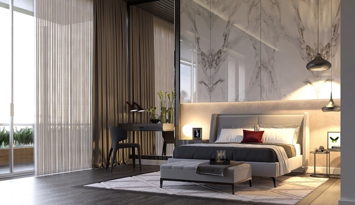 pinterest bedroom ideas marble accent wall above bed with white bed frame dark wooden floor with white carpet