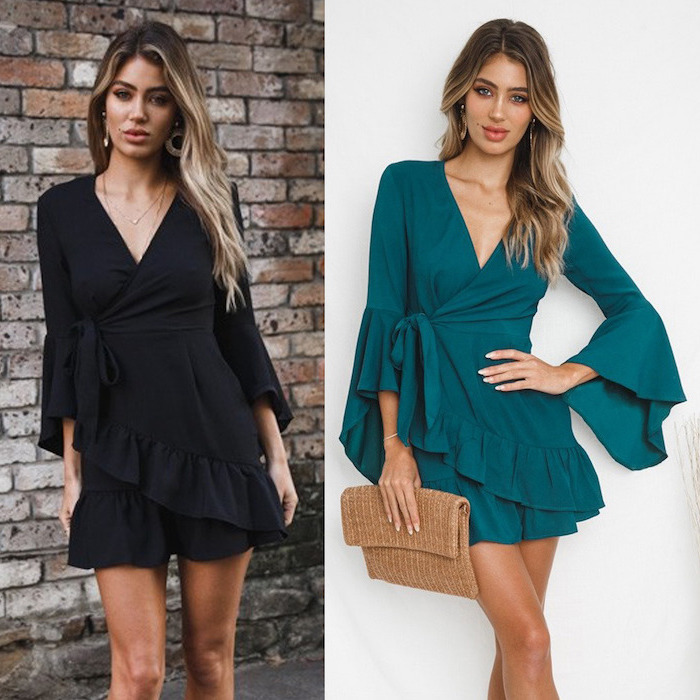 side by side photos of woman with balayage hair cotton summer dresses wearing black and turquoise dresses