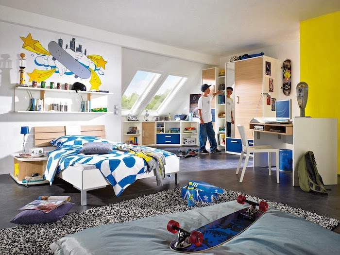 skateboard themed room in bright yellow and blue colors boys room paint ideas granite floor black and white carpet