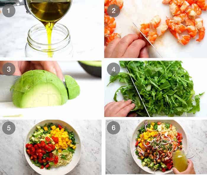 step by step tutorial how to make prawn avocado salad in six steps greek cucumber salad marble countertop