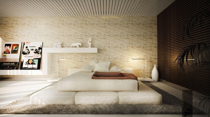 stone accent wall white bed in the middle white shelves grey carpet on white floor modern bedroom ideas