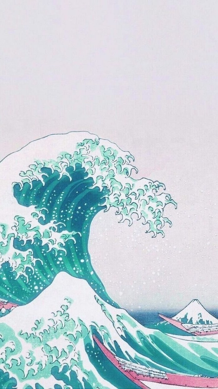 the wave painting in turquoise pink and white nature iphone wallpaper large wave