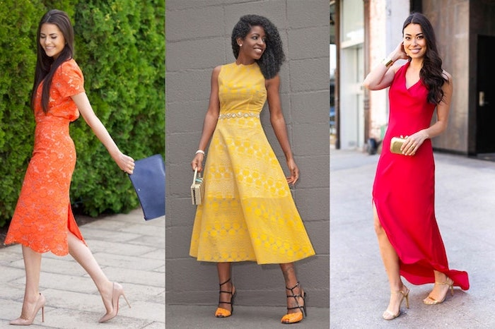 three side by side photos of women wearing midi dresses formal dresses for weddings orange yellow and red dresses