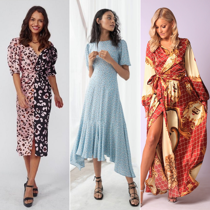 three women wearing three different dresses beautiful dresses to wear to a wedding satin dresses with different prints