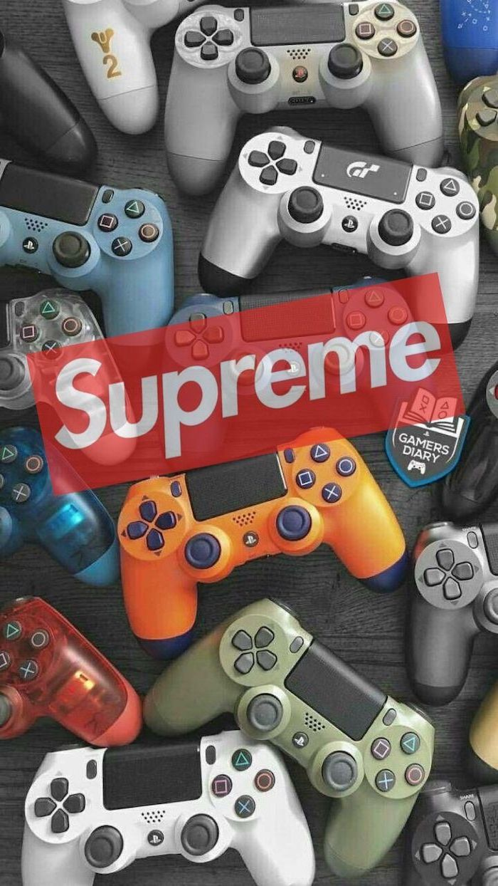 wallpapers for guys supreme red and white logo in the middle lots of playstation controls in the background