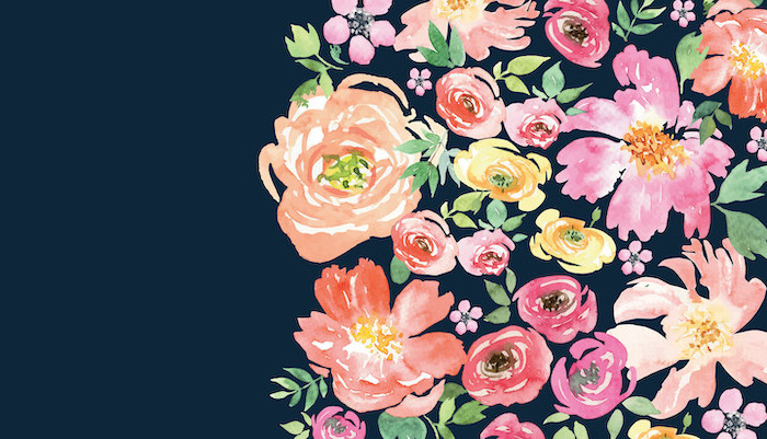 watercolor drawing of orange pink yellow flowers with green leaves watercolor floral background dark blue background
