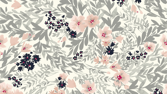 watercolor orange black flowers with grey leaves vintage flower background white background