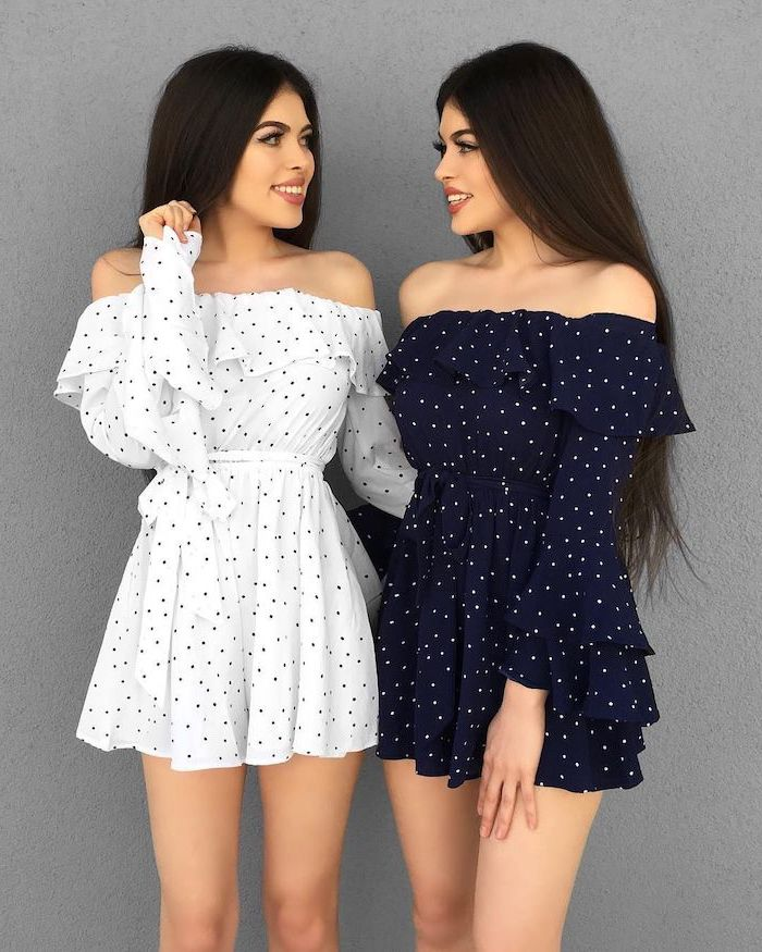 white and dark blue dresses with dots worn by twin girls sexy summer dresses long brunette hair