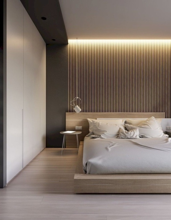 white bed sheets on bed with wooden bed frame cute bedroom ideas wooden floor and wall with led lights