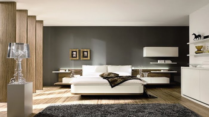 wooden floor black accent wall black carpet master bedroom decor white bookshelves wooden columns