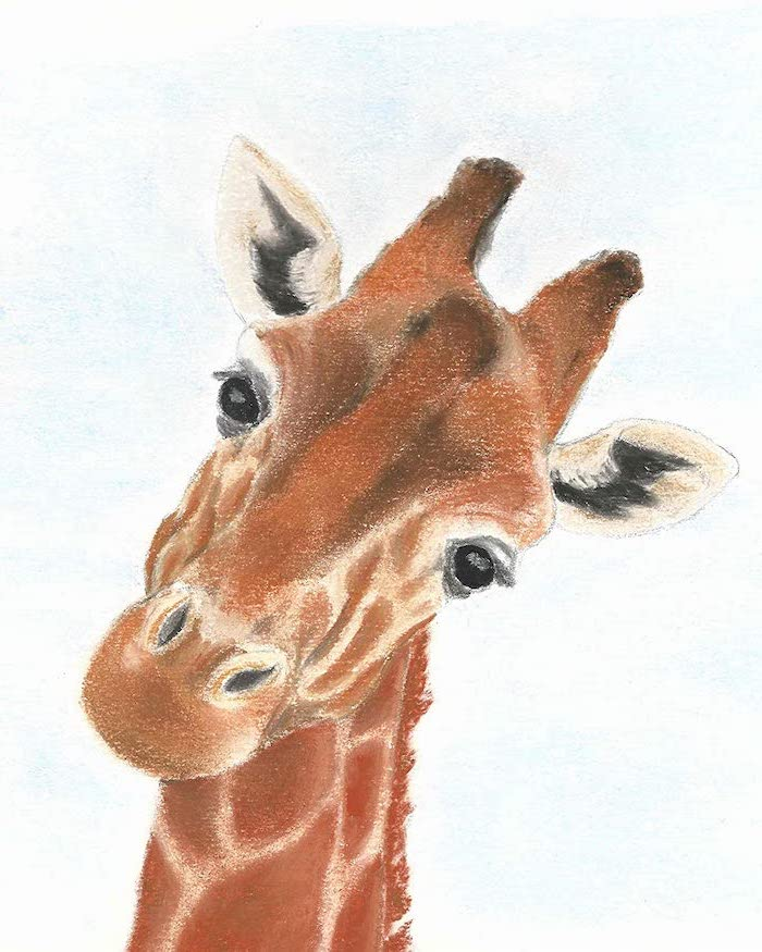 acrylic painting of a giraffe with tilted head simple animal drawings painted in orange brown black on white background
