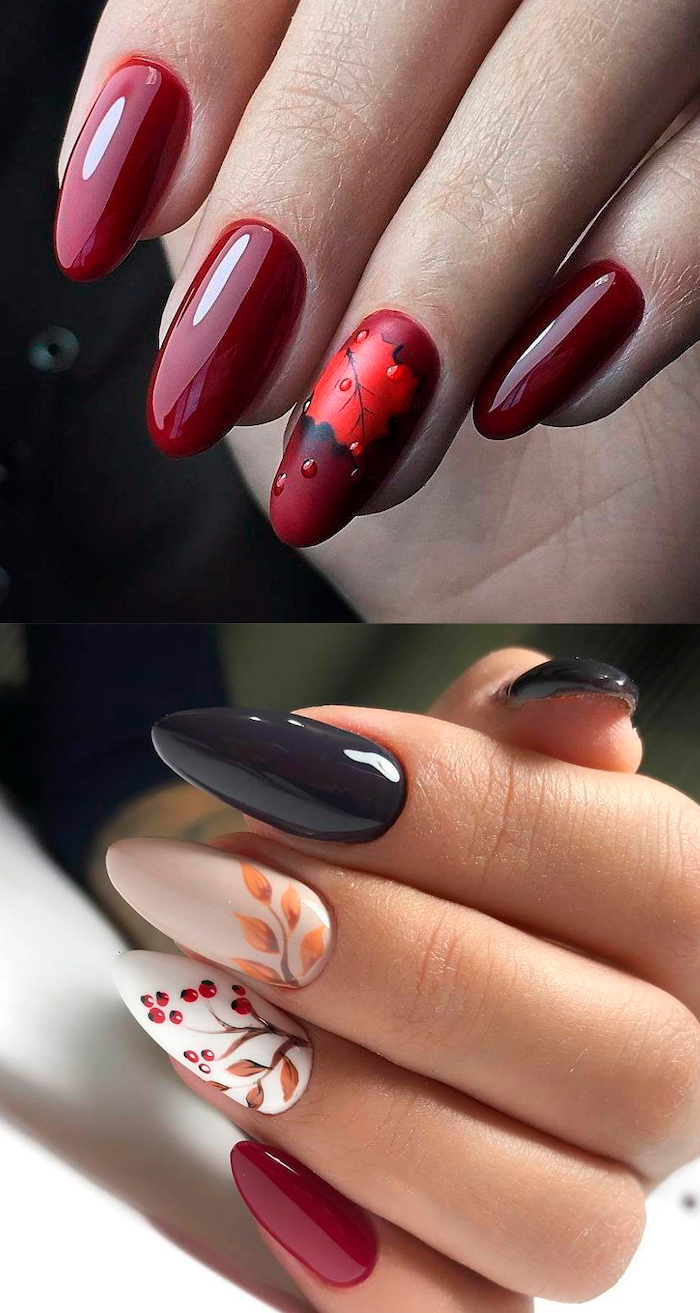 almond nails with red nail polish fall leaf raindrops decoration on ring finger short nail designs stiletto nails with black red white nail polish decorations on ring and middle finger