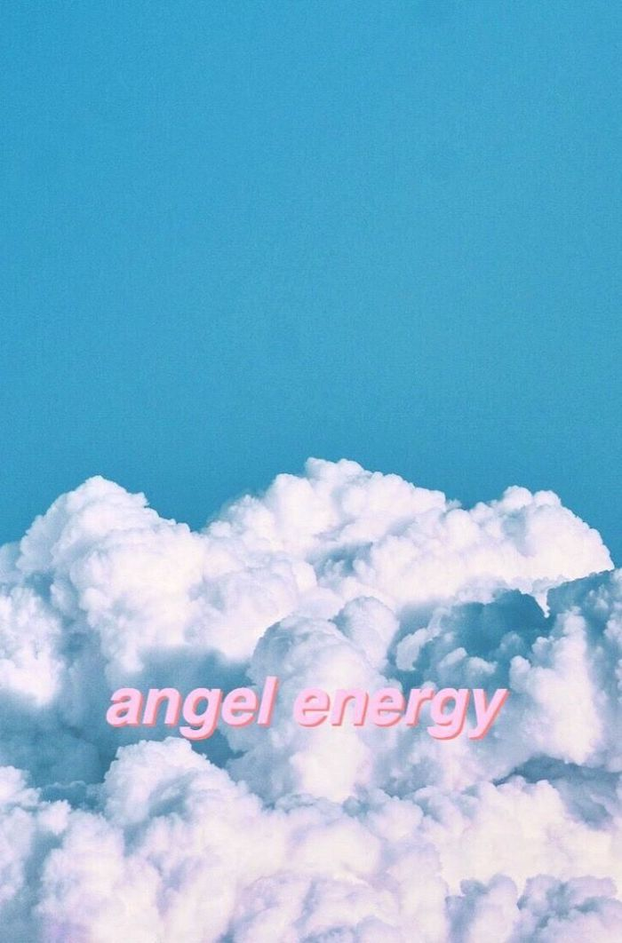 angel energy written with pink letters cute aesthetic wallpapers blue sky with white clouds as background