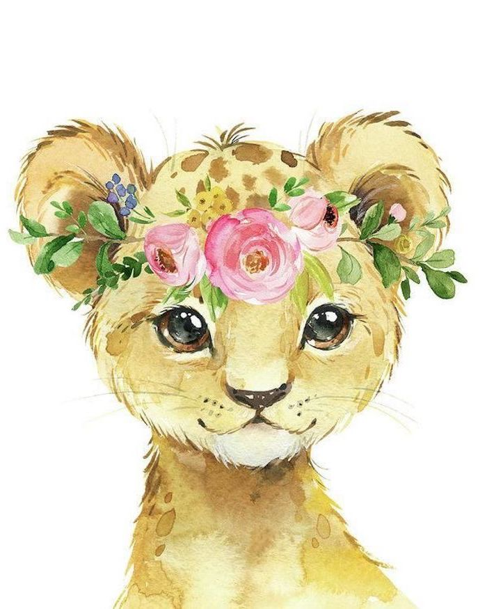 baby tiger drawn in watercolor with flower crown on its head with three pink roses painted on white background realistic animal drawings