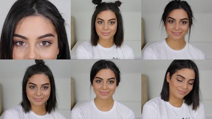 back to school hairstyles girl wearing white t shirt with short black hair photo collage of different hairstyles