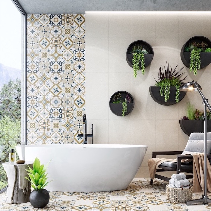 bathroom decorating ideas pictures colorful tiles on the floor and walls black pots hanging on the wall white bathtub tal windows