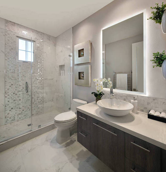 bathroom ideas photo gallery wooden floating cabinet white countertop mosaic and marble tiles in the shower cabin marble tiles on the floor