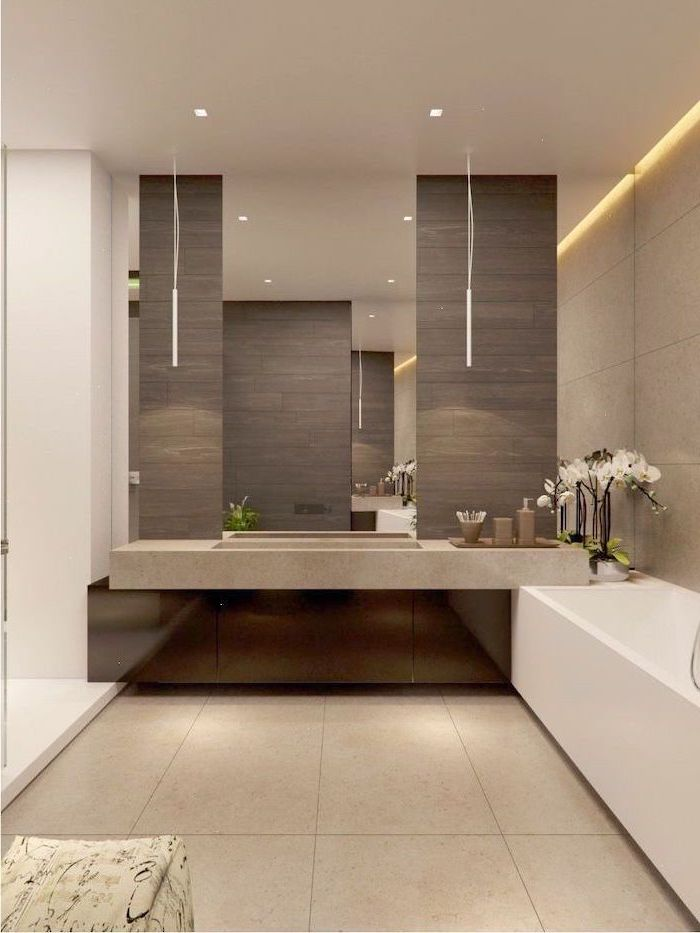 beige tiles on flor and walls with led lights how to decorate a small bathroom floating cabinet large mirror above it