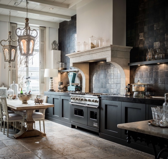 black cabinets with black countertops how to tile a backsplash black tiles on the wall open shelving wooden table