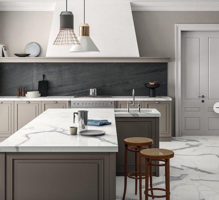 black granite backsplash modern kitchen backsplash gray cabinets kitchen island marble countertops floor
