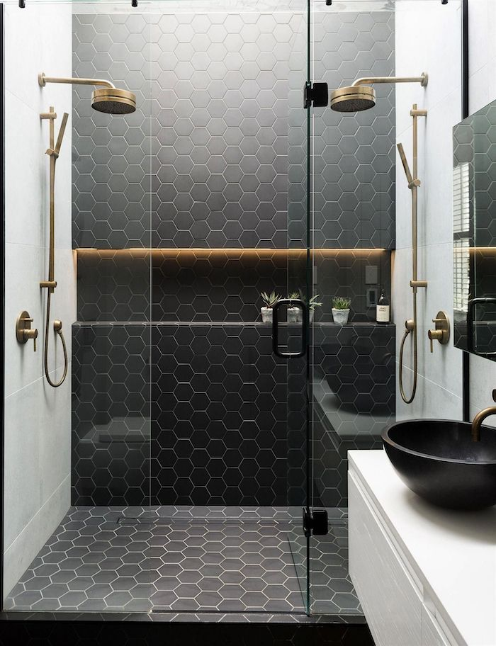 black honeycomb tiles two brass showers in glass shower cabin bathroom decor ideas white tiles on the walls