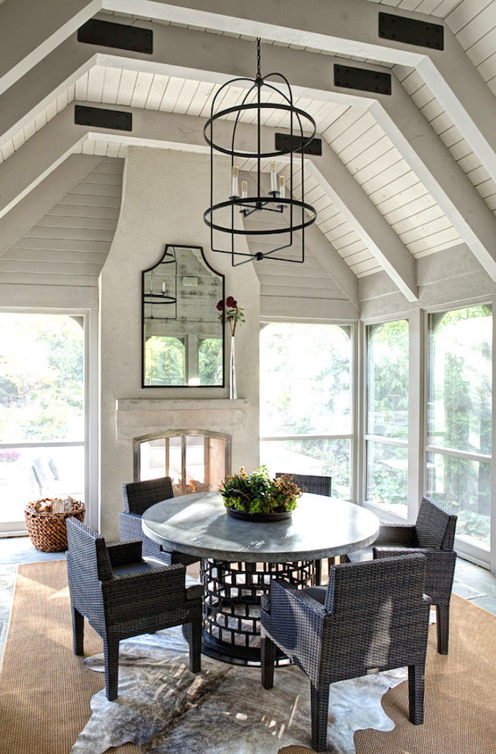 black metal chandelier how to build a screened in porch garden furniture set with black metal table with granite countertop