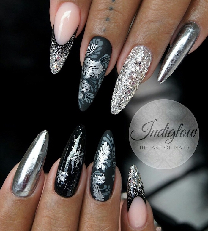 black silver metallic and glitter nail polish summer nail designs long stiletto nails different decorations on each finger